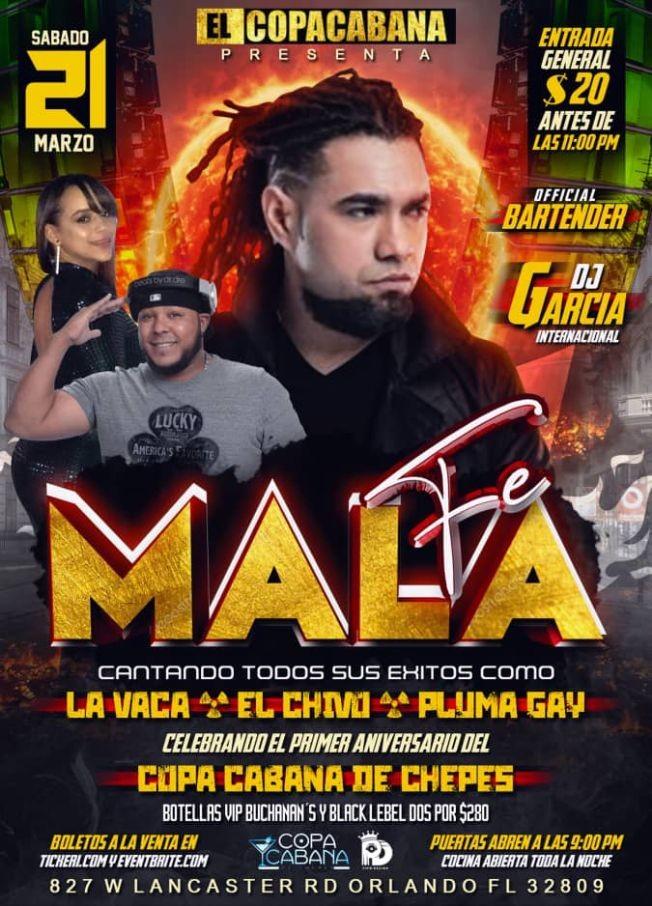 Flyer for MALA FE EN CONCIERTO EN ORLANDO, FL CANCELED