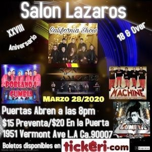 Flyer for Aniversario Grupo California Show En Los Angeles, CA