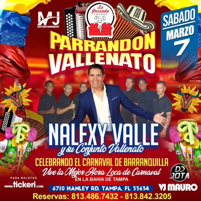 Flyer for Parrandon Vallenato con Nalexy Valle y su Conjunto