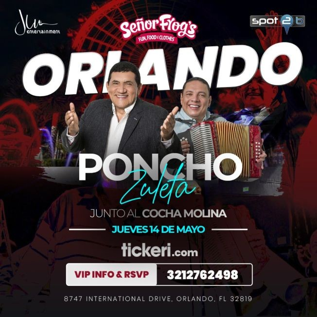 Flyer for Poncho Zuleta junta al Cocha Molina en Vivo!