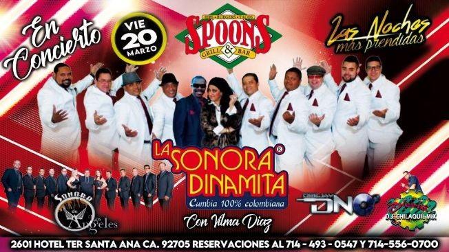 Flyer for Sonora Dinamita y Sonora Los Angeles En Santa Ana,CA CANCELED