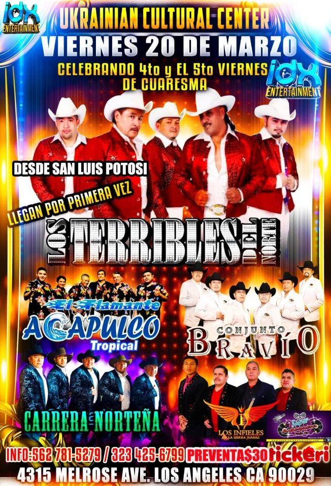 Flyer for Los Terribles Del Norte y Mas En Los Angeles,CA CANCELED