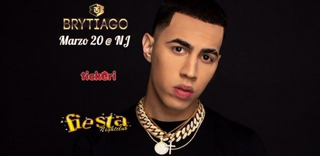 Flyer for BRYTIAGO Live @FiestaNightclub. POSTPONED   New date will be available soon