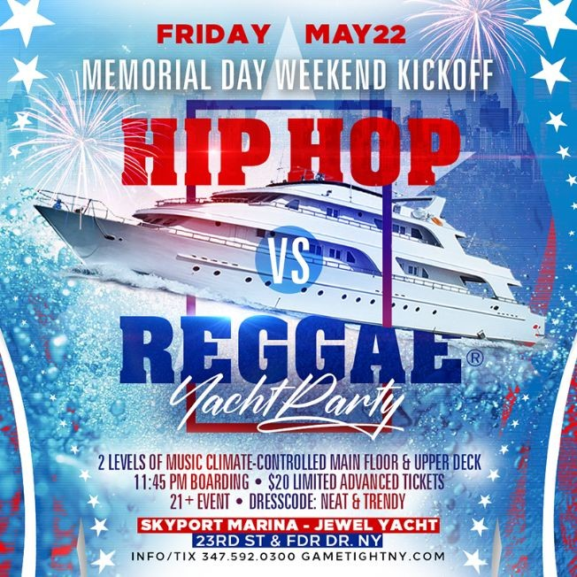 Flyer for POSTPONED: NYC MDW Kickoff Hip Hop vs Reggae® Yacht Party at Skyport Marina 2020