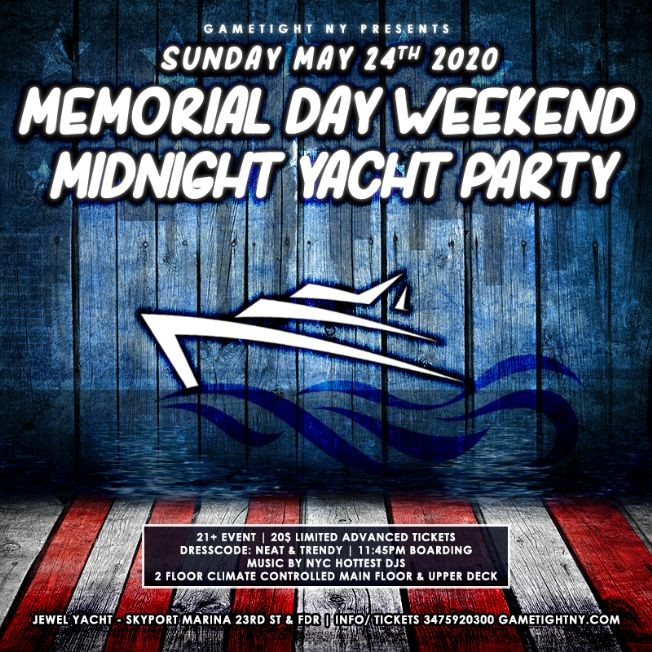 Flyer for POSTPONED: NYC Memorial Day Sunday Yacht Party Cruise at Skyport Marina 2020