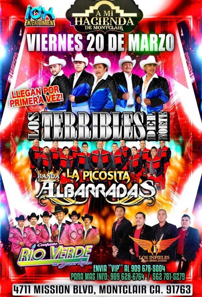Flyer for Los Terribles Del Norte y Mas En Montclair,CA CANCELED
