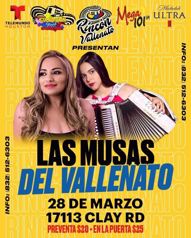 Flyer for Las Musas del Vallenato En Concierto En Houston,TX CANCELED
