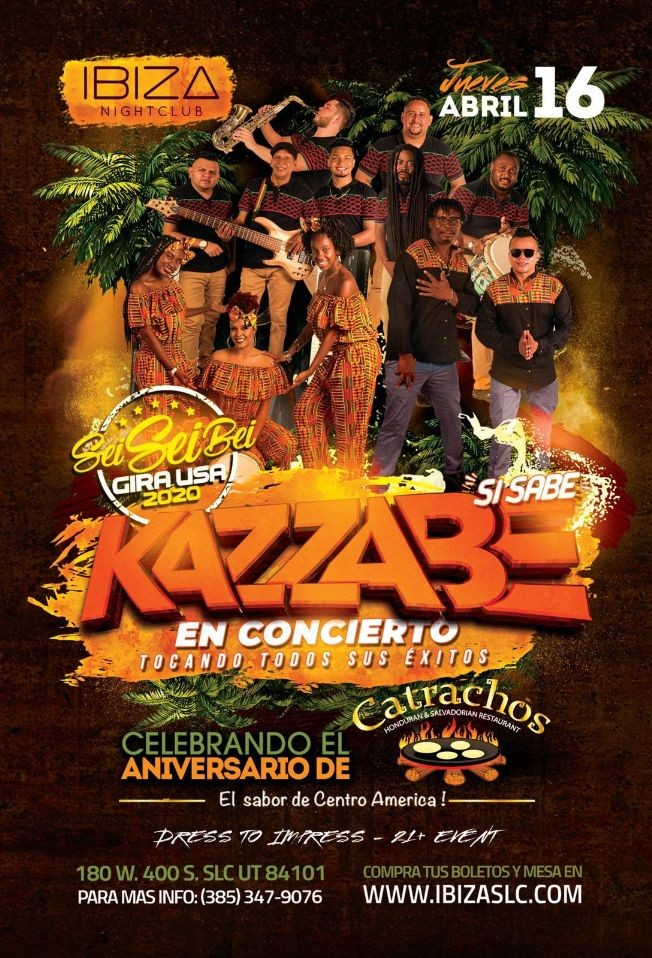 Flyer for Kazzabe Si Sabe! Sei Sei Bei Gira USA 2020 en Utah!