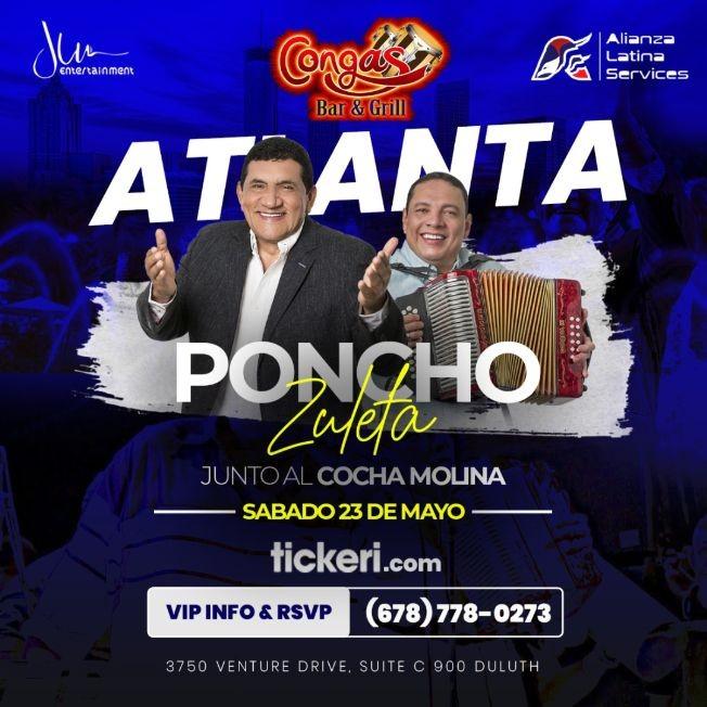 Flyer for POSTPONED: PONCHO ZULETA & COCHA MOLINA EN CONCIERTO EN DULUTH,GA