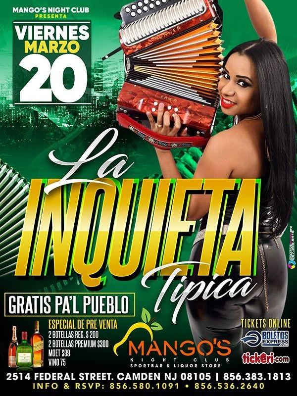 Flyer for La Inquieta Tipica en Vivo! CANCELED