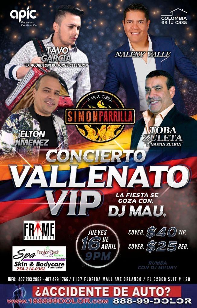 Flyer for Concierto Vallenato Vip Con Tavo Garcia,Nalexy Valle y Mas En Orlando,FL
