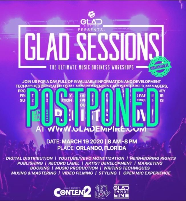 Flyer for GLAD SESSIONS- THE ULTIMATE MUSIC BUSINESS WORKSHOPS CANCELED