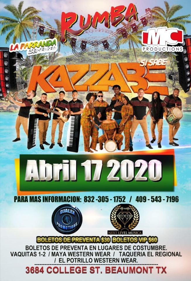 Flyer for Kazzabe En Concierto En Beaumont,TX