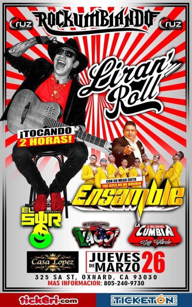 Flyer for Rockumbiando Con Liran´Roll,Ensamble y Mas En Oxnard,CA POSTPONED