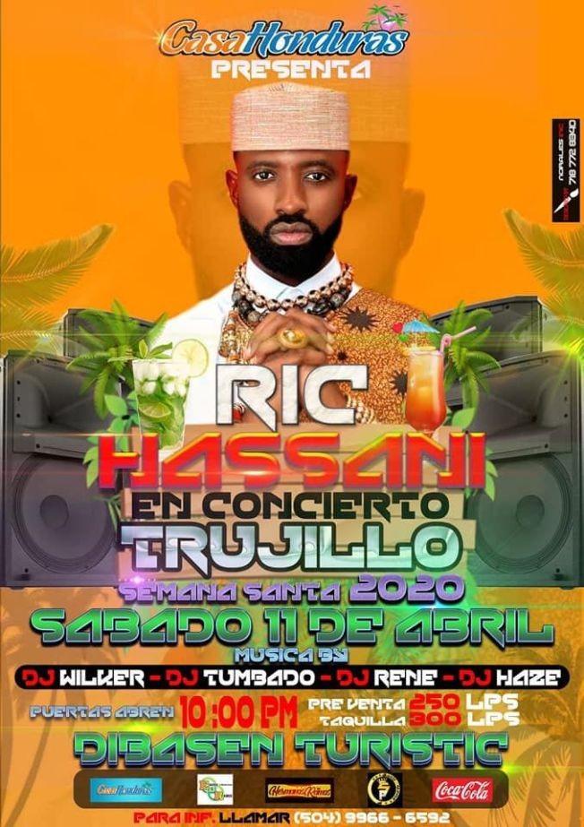 Flyer for Ric Hassani En Concierto En Trujillo Semana Santa 2020 Honduras