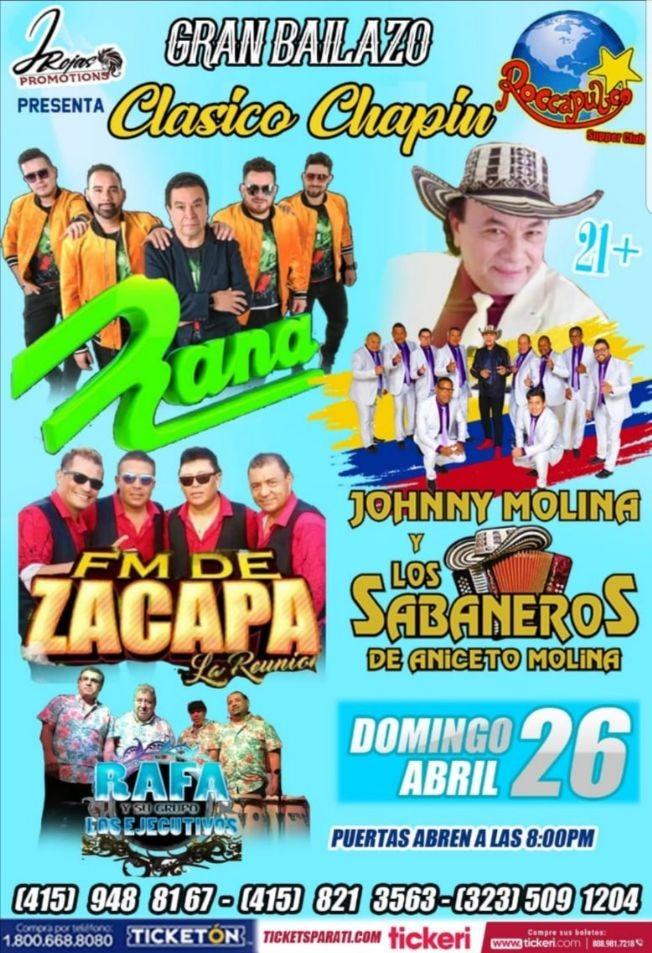 Flyer for Grupo Rana, Los Sabaneros De Aniceto Molina Y F.M. de Zacapa En San Francisco,CA POSTPONED