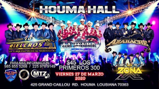 Flyer for Los Rieleros,La Zenda y Mas En Houma,LA