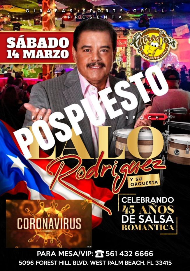 Flyer for LALO RODRIGUEZ en West Palm Beach !! POSTPONED