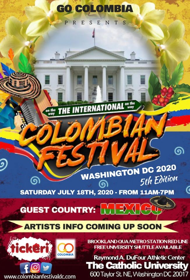 Flyer for The International Colombian Festival of Washington DC 2020