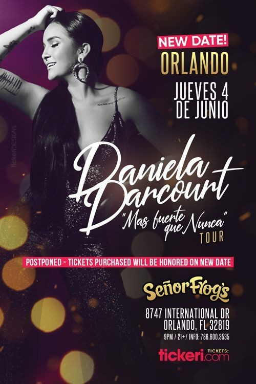 Flyer for DANIELA DARCOURT EN ORLANDO NEW DATE CONFIRMED