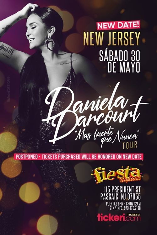 Flyer for DANIELA DARCOURT EN NEW JERSEY NEW DATE CONFIRMED