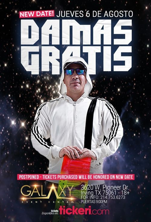 Flyer for DAMAS GRATIS EN DALLAS NEW DATE CONFIRMED