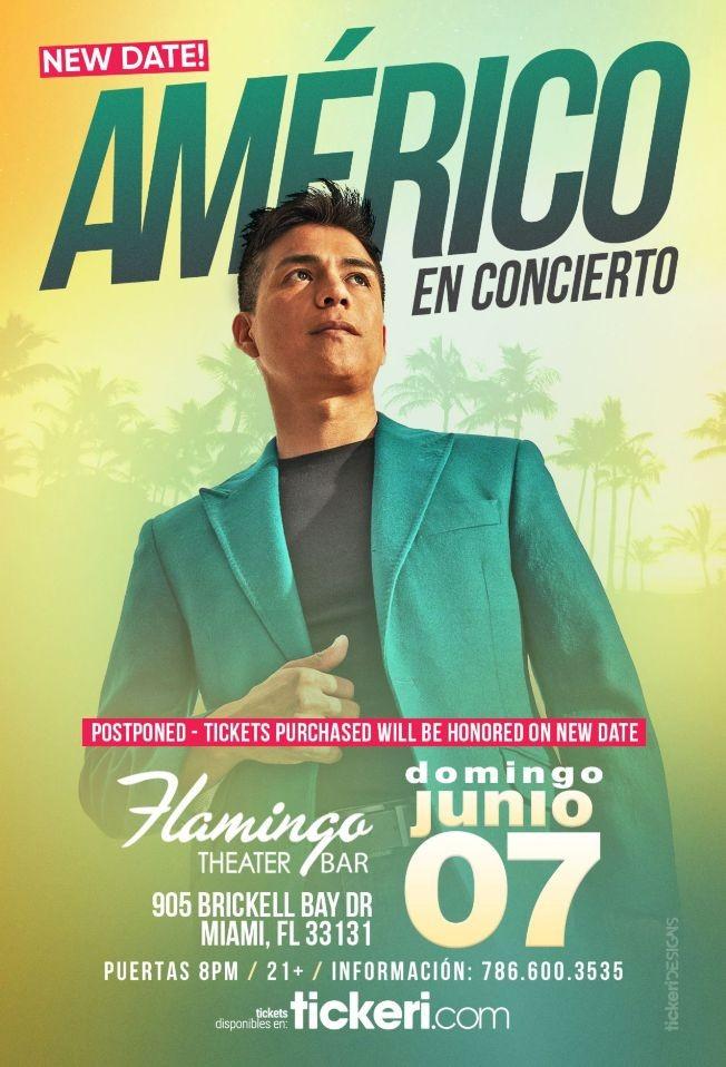 Flyer for AMERICO EN MIAMI CANCELED