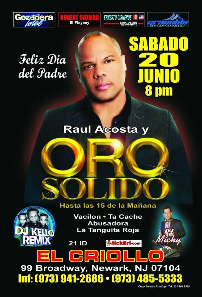 Flyer for ORO SOLIDO en NEW JERSEY NEW CONFIRMED DATE