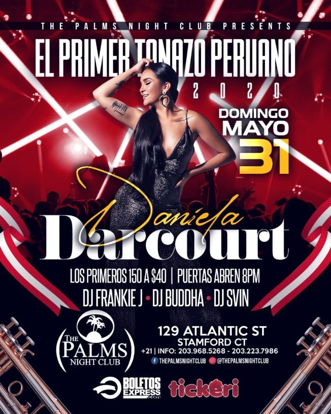 Flyer for Daniela Darcourt en Stamford,CT NEW DATE CONFIRMED