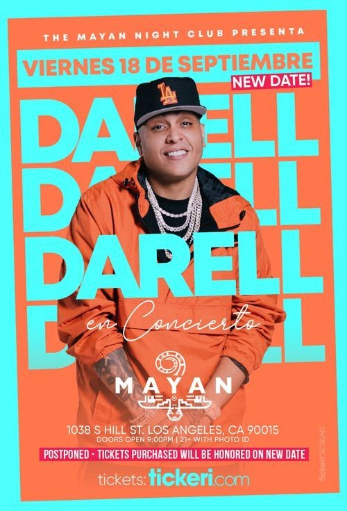 Flyer for DARELL EN LOS ANGELES NEW DATE CANCELED
