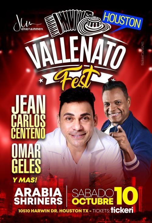 Flyer for Vallenato Fest en Houston con Jean Carlos Centeno, Omar Geles y Mas!