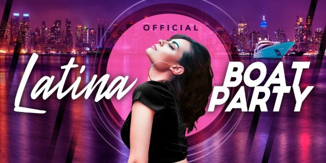 Flyer for Official Latina Boat Party - Latin Music & New York City Skyline-Saturday Night