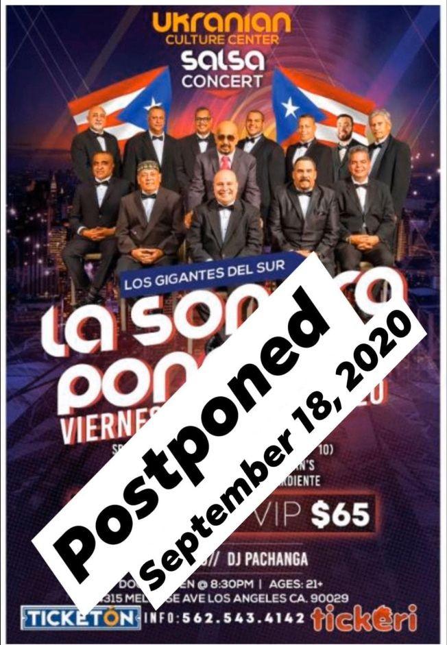 Flyer for La Sonora Ponceña En Los Angeles,CA