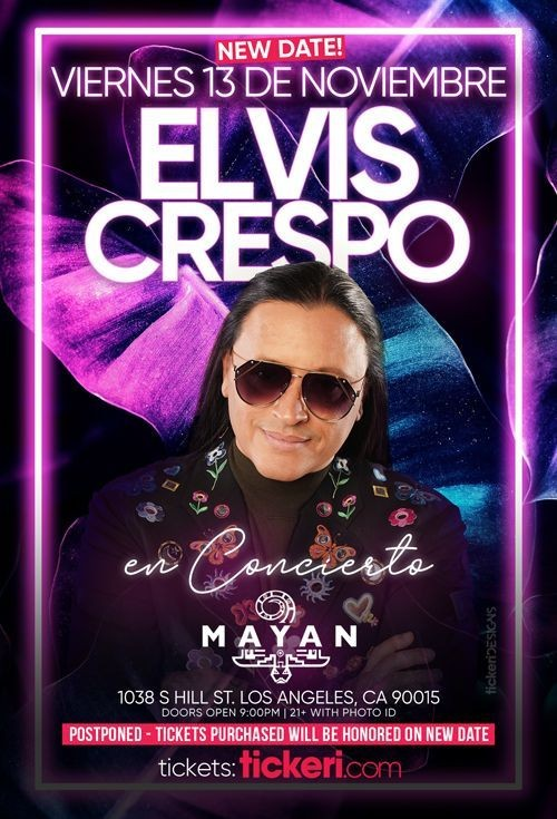 Flyer for ELVIS CRESPO EN LOS ANGELES POSTPONED