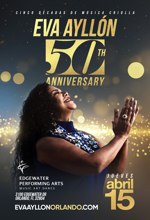 Flyer for Eva Ayllon 50 Aniversario En Orlando,FL