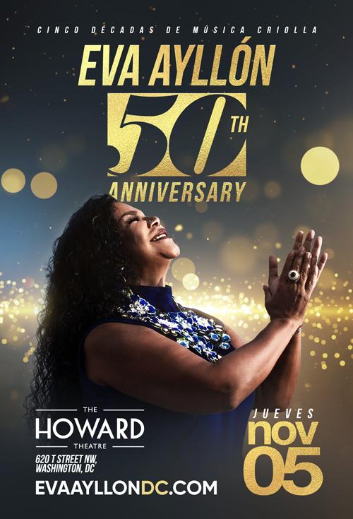 Flyer for Eva Ayllon 50 Aniversario en Washington DC