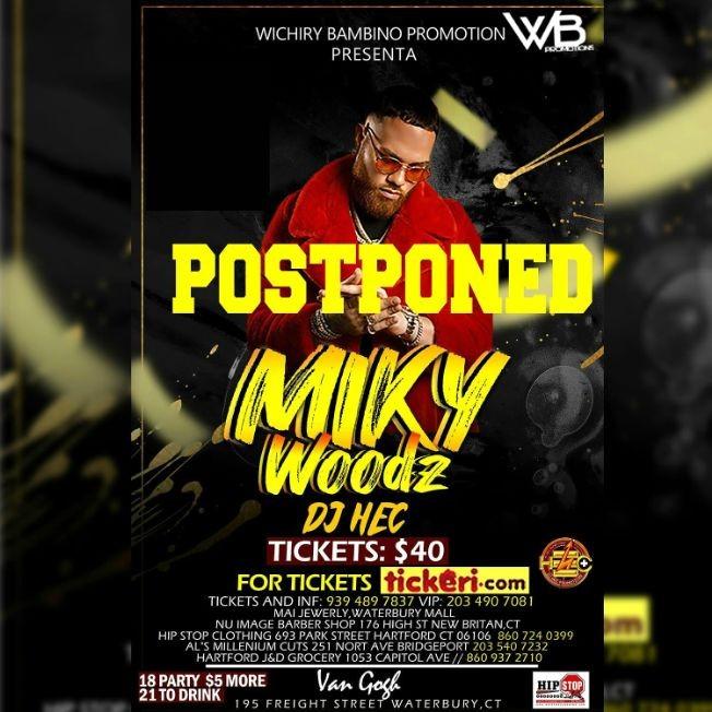 Flyer for Miky Woods En Concierto En Waterbury,CT POSTPONED