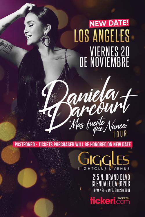 Flyer for DANIELA DARCOURT EN LOS ANGELES NEW DATE CONFIRMED
