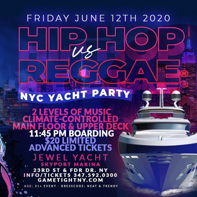 Flyer for New York Hip Hop vs. Reggae® Midnight Yacht Party at Skyport Marina Jewel 2020
