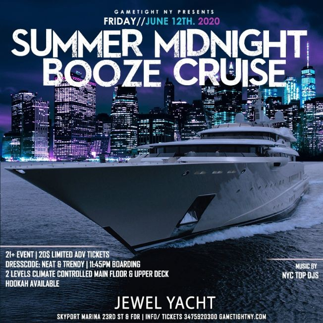 Flyer for NYC Summer Midnight Booze Cruise Yacht Party at Skyport Marina Jewel 2020
