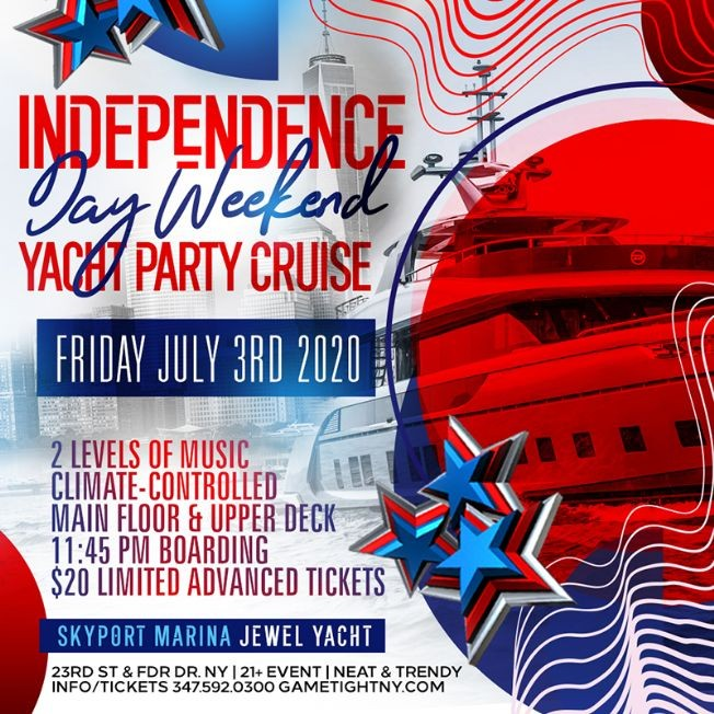 Flyer for NYC Independence Day Weekend Yacht Party Cruise at Skyport Marina 2020