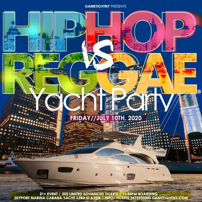 Flyer for Manhattan Hip Hop vs. Reggae® Midnight Yacht Party at Skyport Marina Cabana 2020