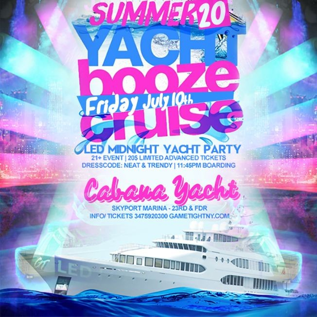 Flyer for NYC LED Glowsticks Booze Cruise Yacht Party at Skyport Marina 2020