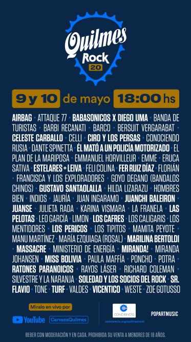 Flyer for Live at Home: Quilmes Rock con Vicentico, Los Cafres, Los Pericos y mucho mas