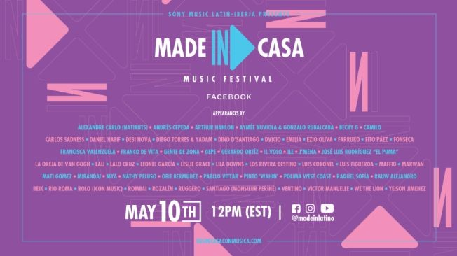 Flyer for Live at home: Made in Casa Music Festival with Oreja de Van Gogh, Victor Manuelle, Farruko, Fito Paez, Fonseca and more