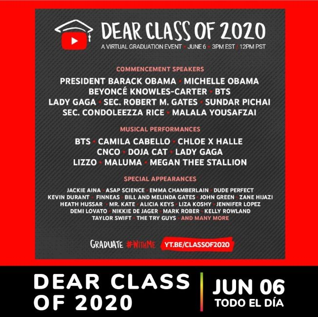 Flyer for Dear Class of 2020 with President Barack Obama, Maluma, Jennifer Lopez, Camila Cabello y mas