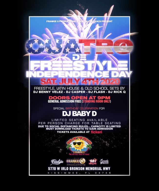 Flyer for Cuatro De Freestyle - Independence Day Party