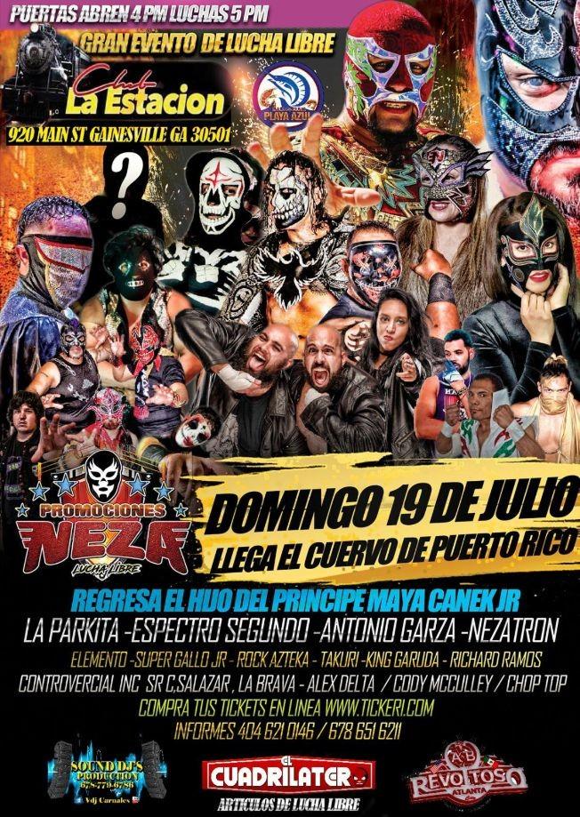 Flyer for Gran evento de Lucha Libre en Gainesville GA