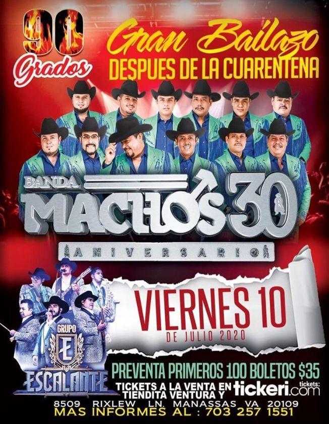 Flyer for Gran Bailazo con Banda Machos 30 y Grupo Escalante!