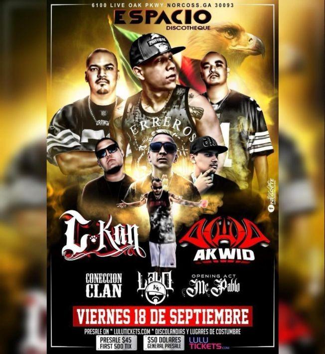 Flyer for C-Kan, AKWID, Coneccion Clan, Lalo KV y MC Pablo en Vivo!